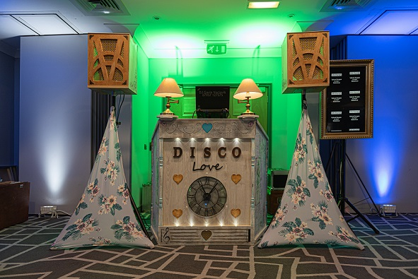 shabby chic vintage themed disco booth from DJ Gavin Vaclavik